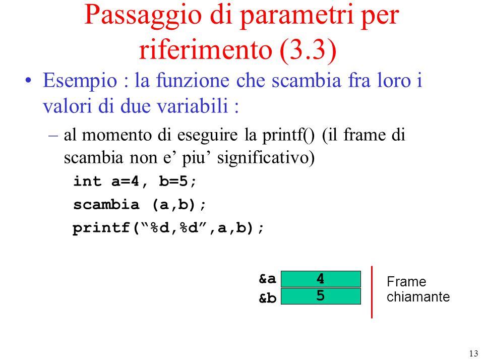 13 Passaggio di parametri per riferimento (3.3) Esempio : la funzione che scambia fra loro i valori di due variabili : –al momento di eseguire la prin