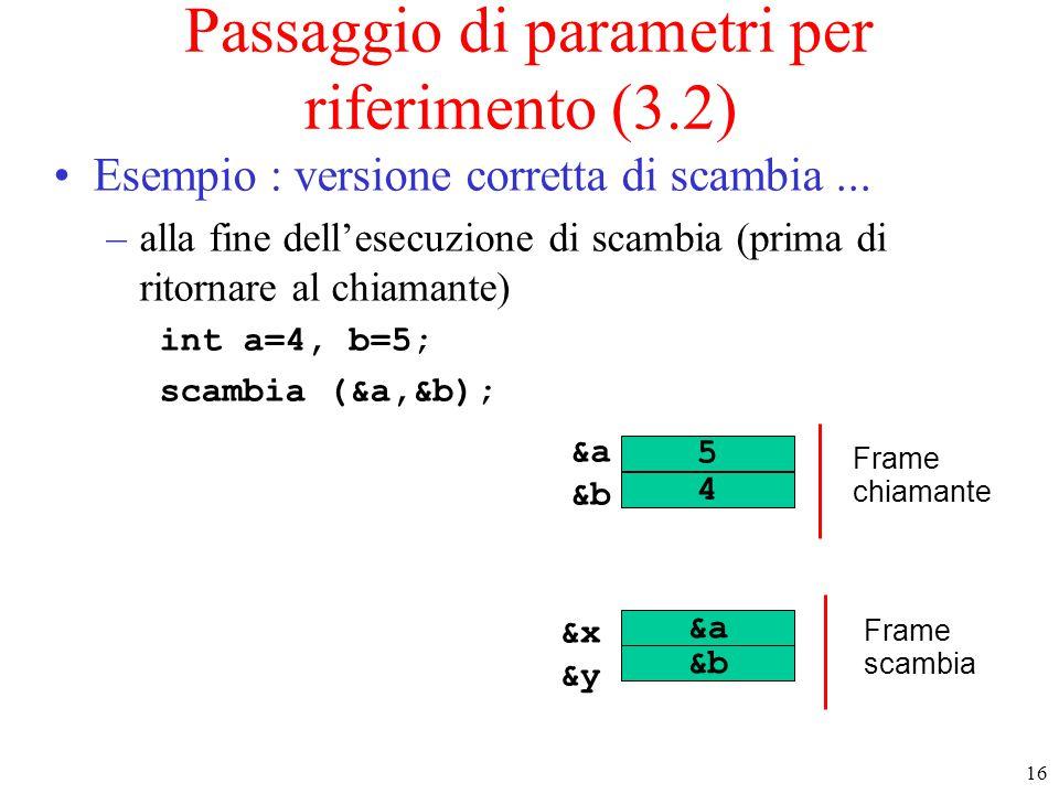 16 Passaggio di parametri per riferimento (3.2) Esempio : versione corretta di scambia... –alla fine dell'esecuzione di scambia (prima di ritornare al
