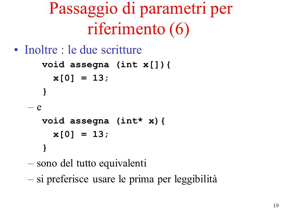 19 Passaggio di parametri per riferimento (6) Inoltre : le due scritture void assegna (int x[]){ x[0] = 13; } –e void assegna (int* x){ x[0] = 13; } –