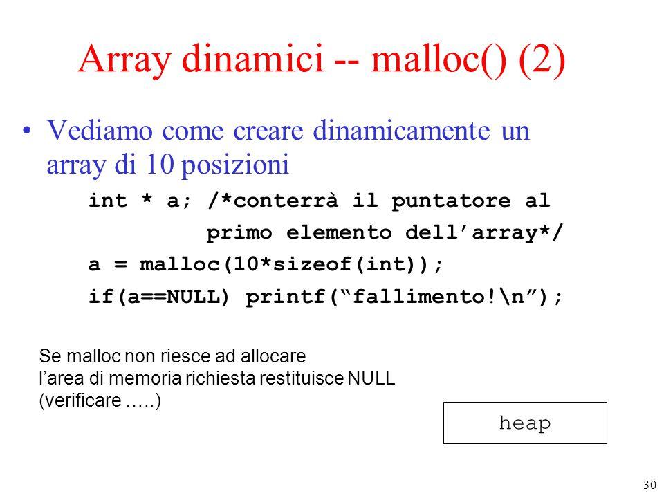 30 Array dinamici -- malloc() (2) Vediamo come creare dinamicamente un array di 10 posizioni int * a; /*conterrà il puntatore al primo elemento dell'a