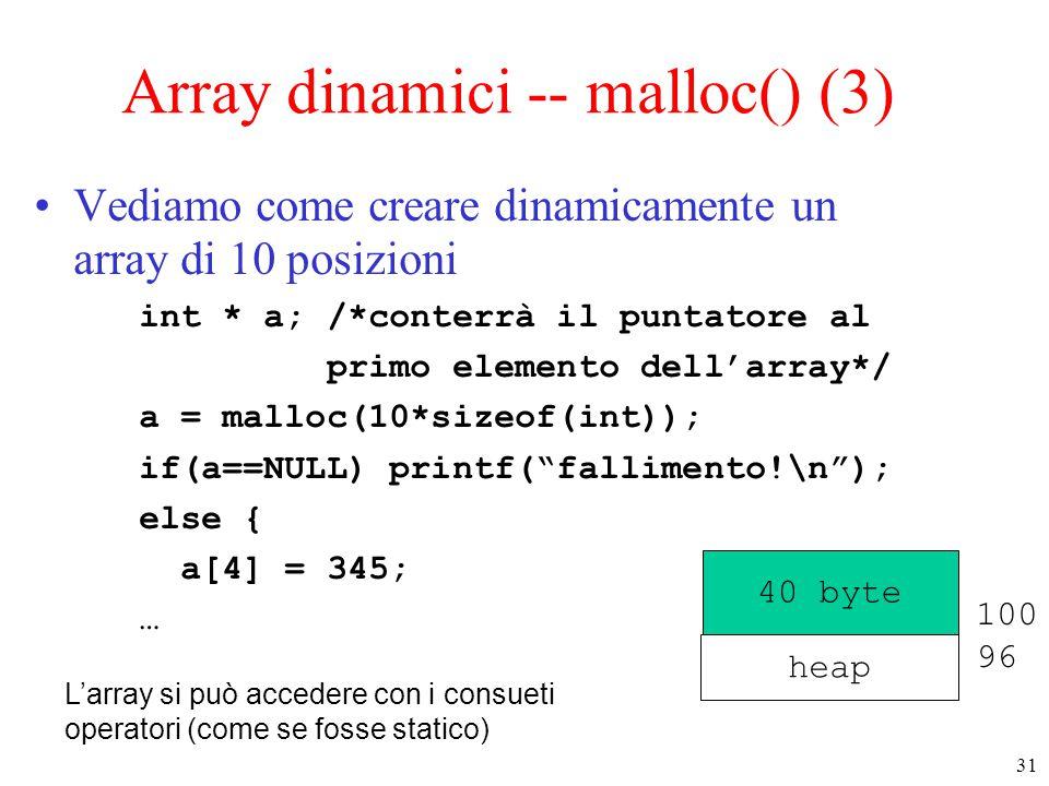 31 Array dinamici -- malloc() (3) Vediamo come creare dinamicamente un array di 10 posizioni int * a; /*conterrà il puntatore al primo elemento dell'a