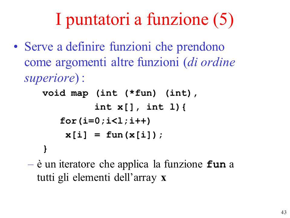 43 I puntatori a funzione (5) Serve a definire funzioni che prendono come argomenti altre funzioni (di ordine superiore) : void map (int (*fun) (int),