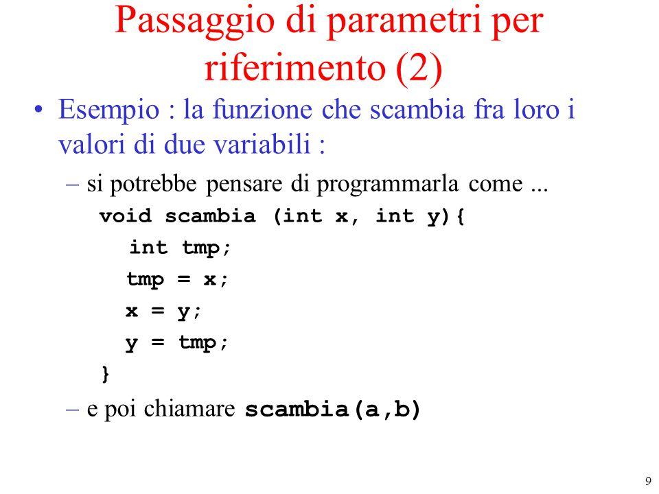 40 I puntatori a funzione (2) Consideriamo la funzione : int somma (int x, int y){ return x+y; } Codice compilato di somma IND somma è un puntatore costante con valore pari a IND