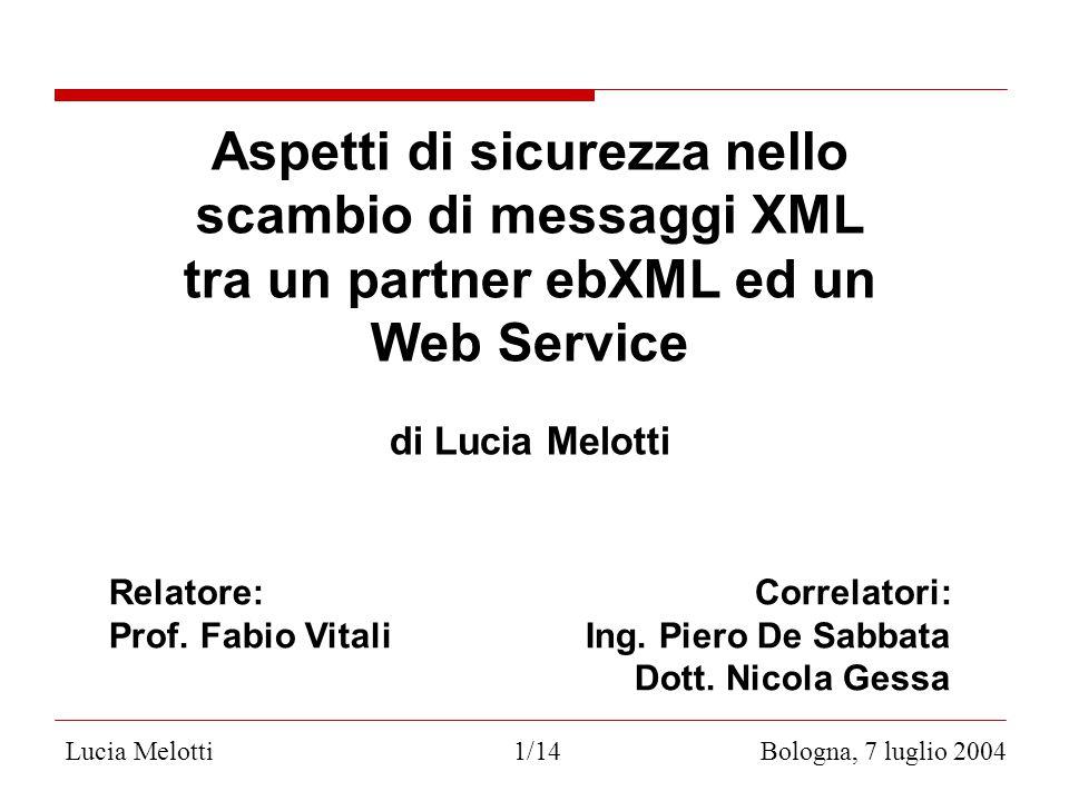 Lucia Melotti 1/14 Bologna, 7 luglio 2004 Aspetti di sicurezza nello scambio di messaggi XML tra un partner ebXML ed un Web Service di Lucia Melotti Relatore: Correlatori: Prof.
