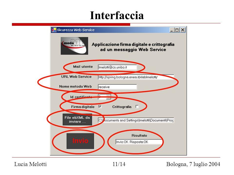 Interfaccia Lucia Melotti 11/14 Bologna, 7 luglio 2004