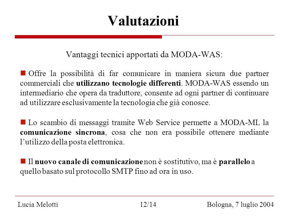 Valutazioni Vantaggi tecnici apportati da MODA-WAS: Offre la possibilità di far comunicare in maniera sicura due partner commerciali che utilizzano tecnologie differenti.