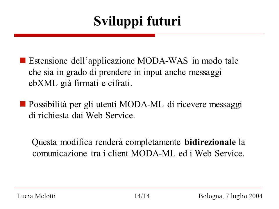 Sviluppi futuri Estensione dell'applicazione MODA-WAS in modo tale che sia in grado di prendere in input anche messaggi ebXML già firmati e cifrati.