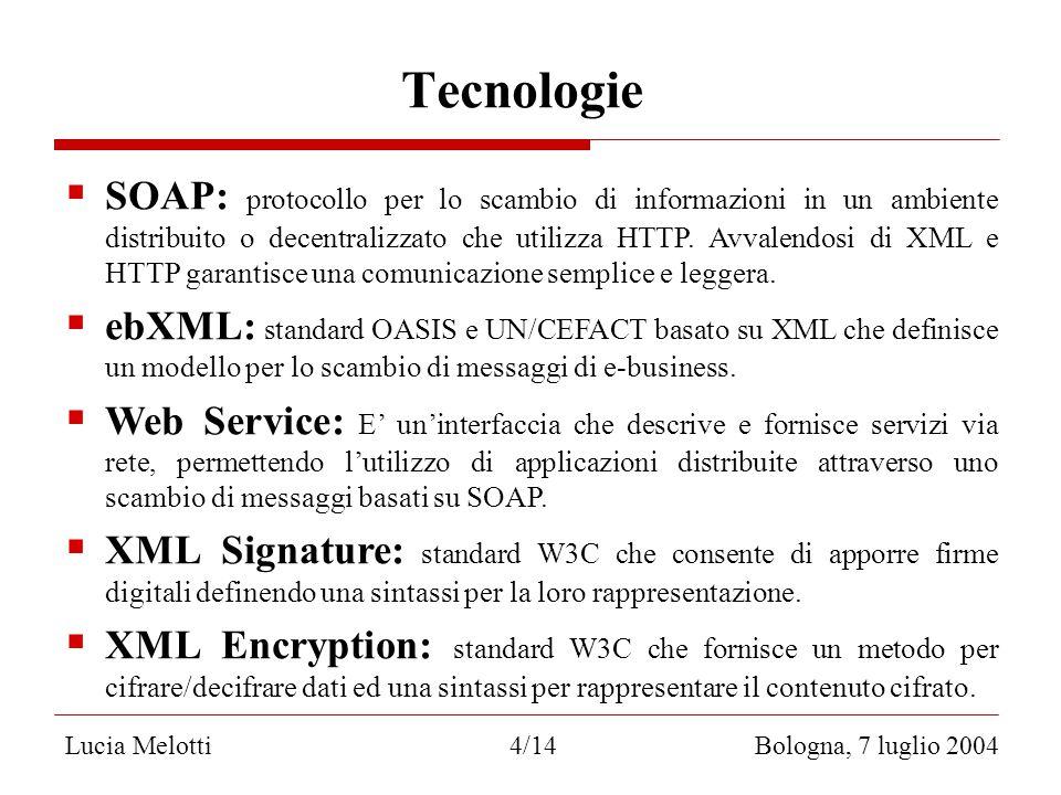 Tecnologie Lucia Melotti 4/14 Bologna, 7 luglio 2004  SOAP: protocollo per lo scambio di informazioni in un ambiente distribuito o decentralizzato che utilizza HTTP.