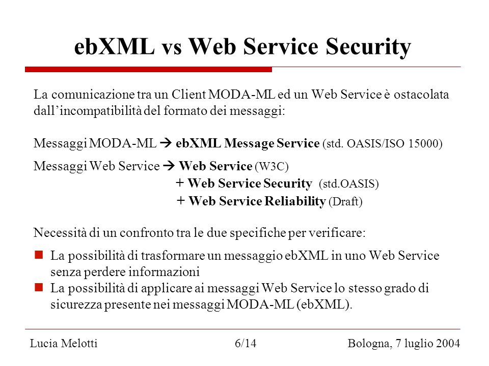 ebXML vs Web Service Security La comunicazione tra un Client MODA-ML ed un Web Service è ostacolata dall'incompatibilità del formato dei messaggi: Messaggi MODA-ML  ebXML Message Service (std.