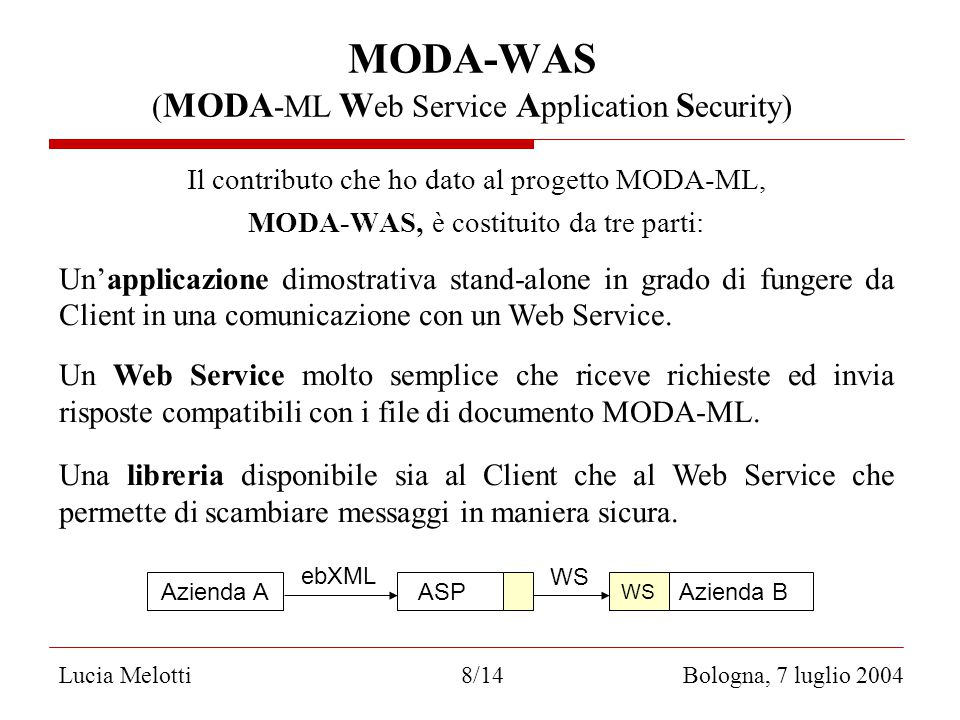Lucia Melotti 8/14 Bologna, 7 luglio 2004 MODA-WAS ( MODA -ML W eb Service A pplication S ecurity) Il contributo che ho dato al progetto MODA-ML, MODA-WAS, è costituito da tre parti: Un'applicazione dimostrativa stand-alone in grado di fungere da Client in una comunicazione con un Web Service.