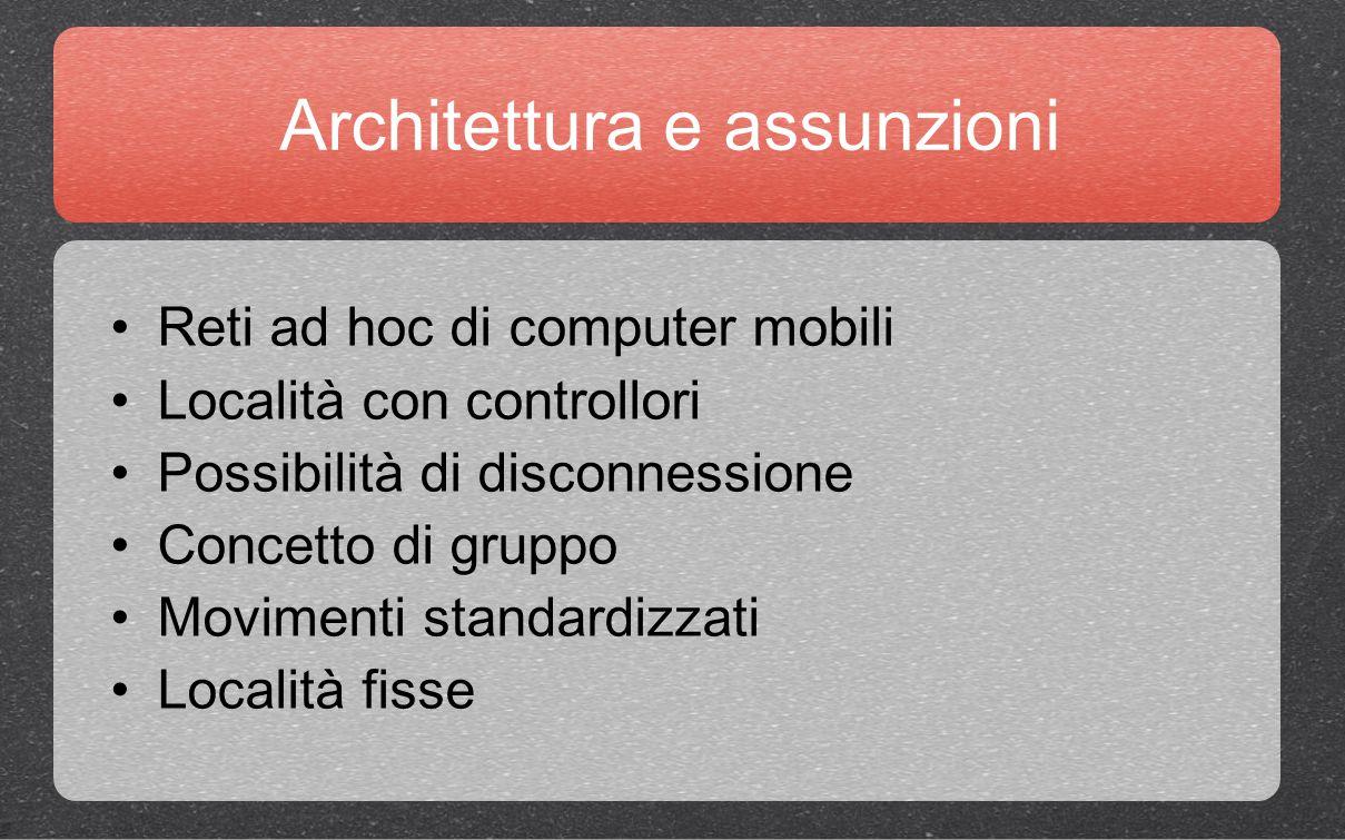 Architettura e assunzioni Reti ad hoc di computer mobili Località con controllori Possibilità di disconnessione Concetto di gruppo Movimenti standardizzati Località fisse