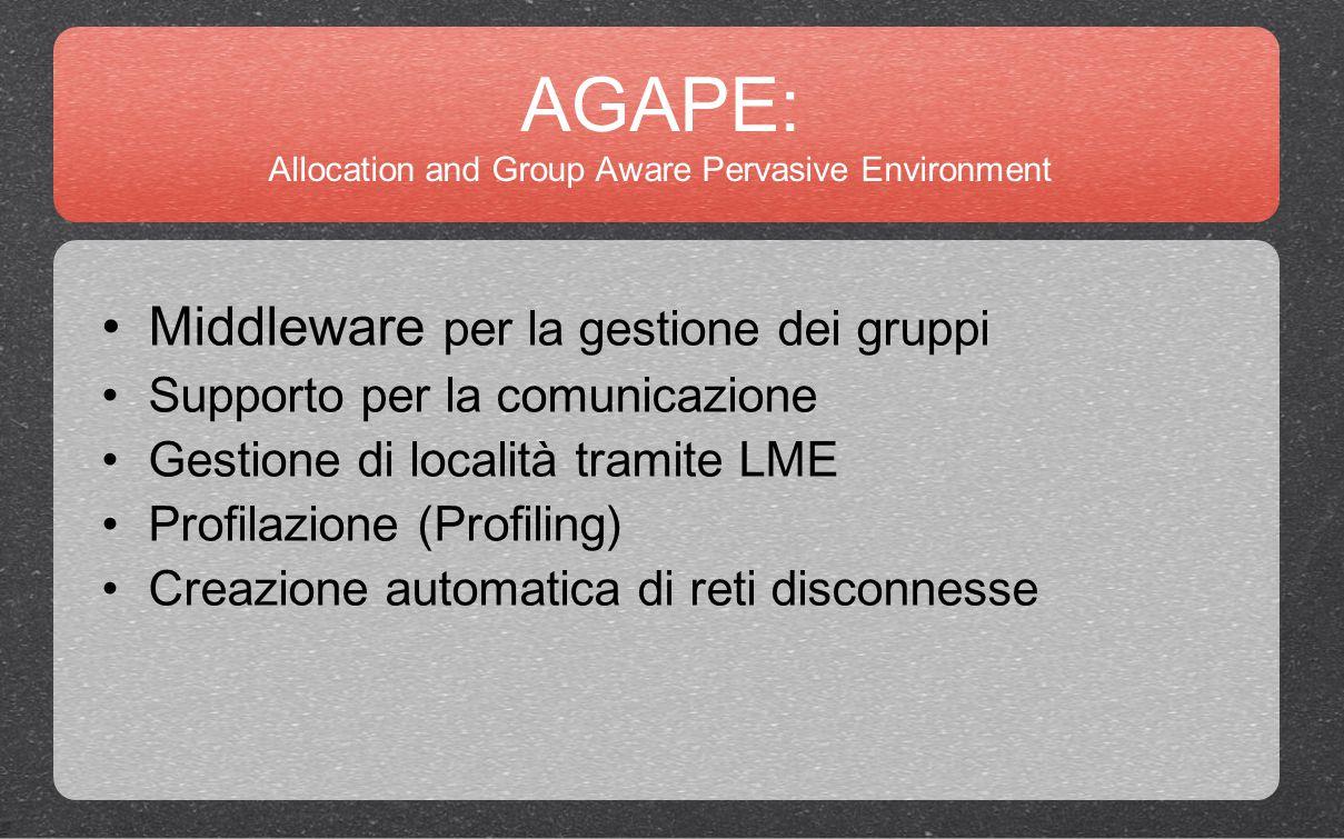 AGAPE: Allocation and Group Aware Pervasive Environment Middleware per la gestione dei gruppi Supporto per la comunicazione Gestione di località tramite LME Profilazione (Profiling) Creazione automatica di reti disconnesse