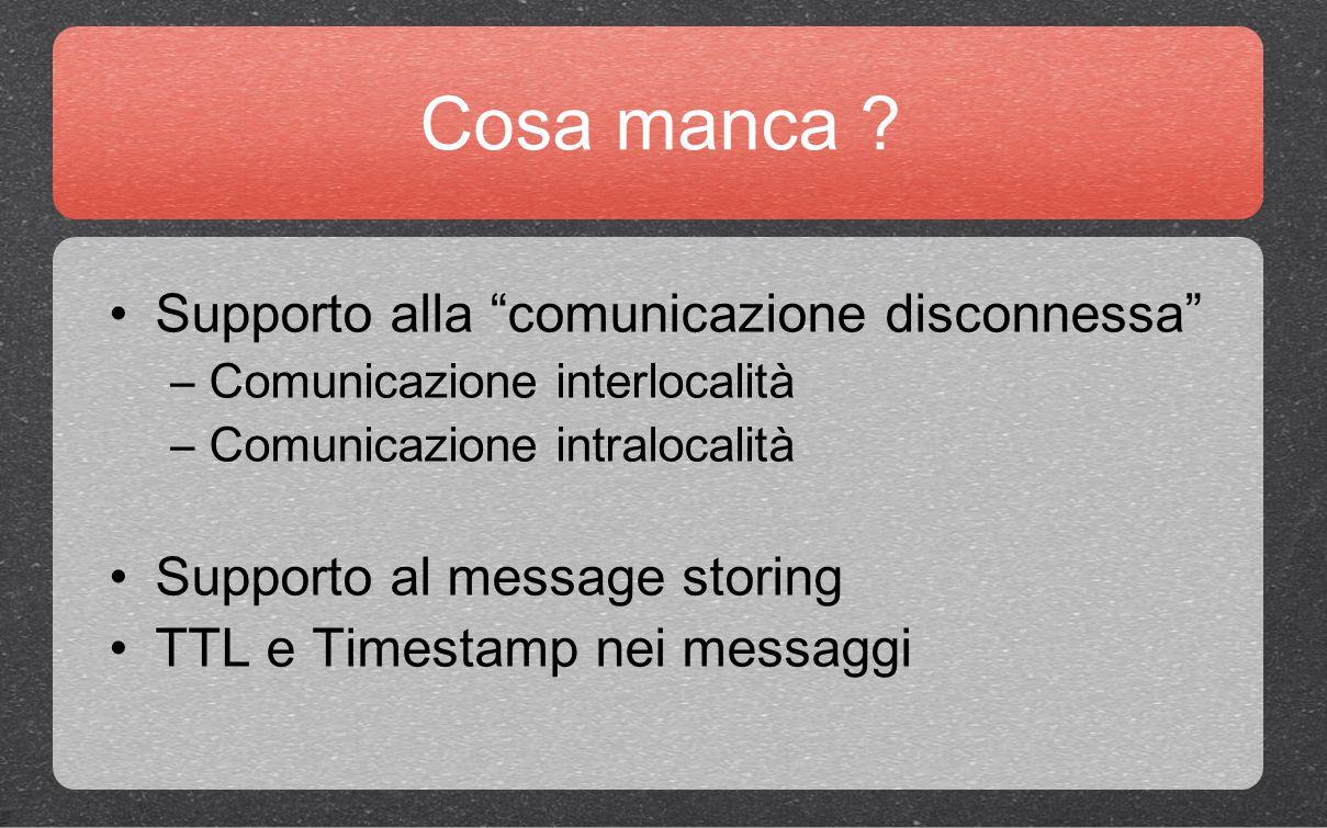 """Cosa manca ? Supporto alla """"comunicazione disconnessa"""" –Comunicazione interlocalità –Comunicazione intralocalità Supporto al message storing TTL e Tim"""