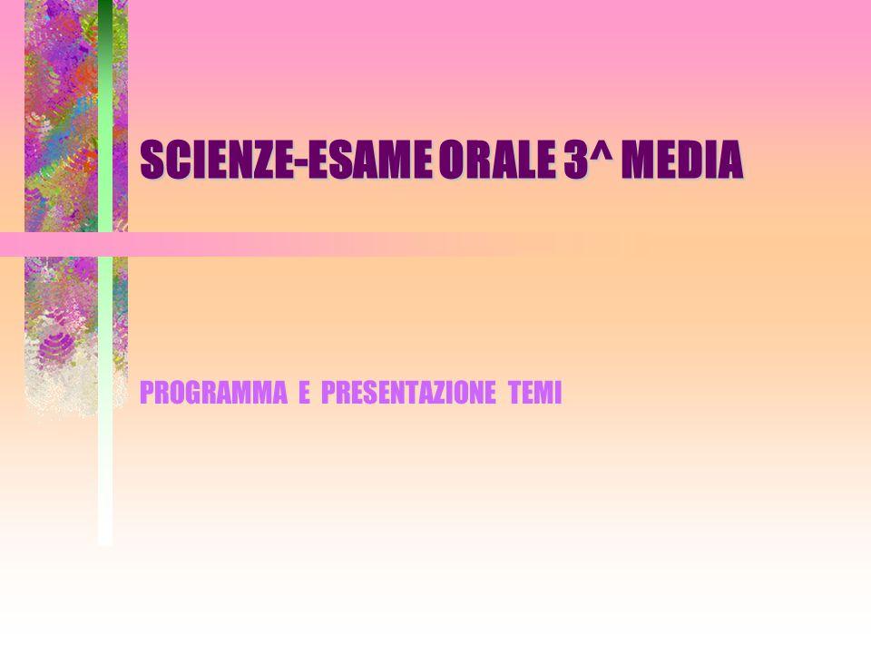 SCIENZE-ESAME ORALE 3^ MEDIA PROGRAMMA E PRESENTAZIONE TEMI