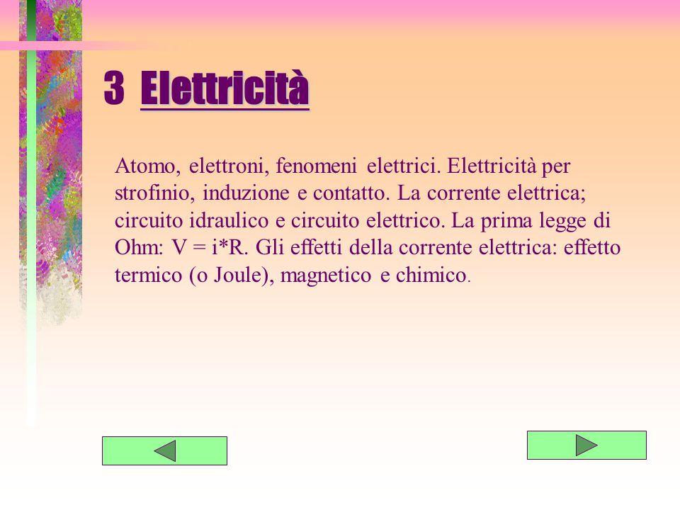 3 E lettricità Atomo, elettroni, fenomeni elettrici.
