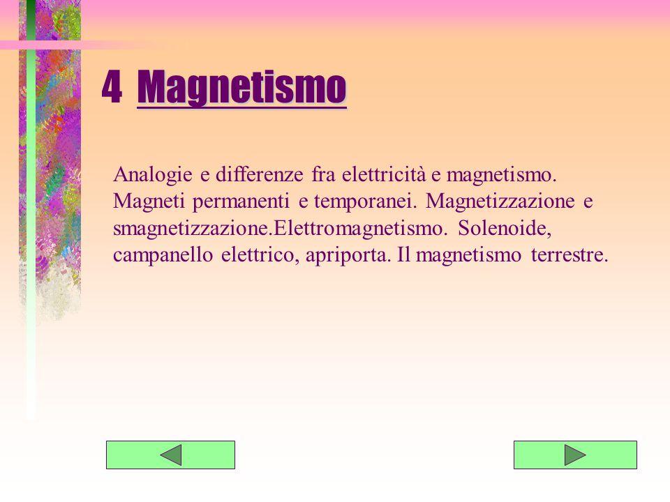 4 M agnetismo Analogie e differenze fra elettricità e magnetismo.
