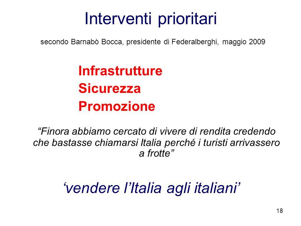 """18 Interventi prioritari secondo Barnabò Bocca, presidente di Federalberghi, maggio 2009 Infrastrutture Sicurezza Promozione """"Finora abbiamo cercato d"""