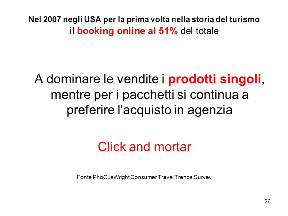 26 Nel 2007 negli USA per la prima volta nella storia del turismo il booking online al 51% del totale A dominare le vendite i prodotti singoli, mentre