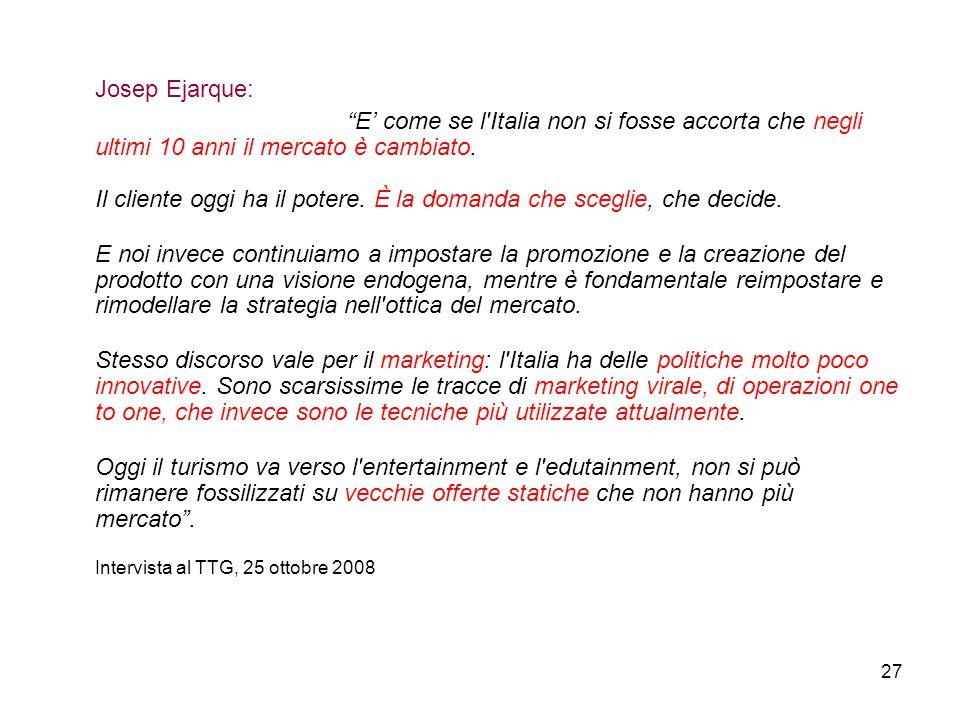 """27 Josep Ejarque: """"E' come se l'Italia non si fosse accorta che negli ultimi 10 anni il mercato è cambiato. Il cliente oggi ha il potere. È la domanda"""