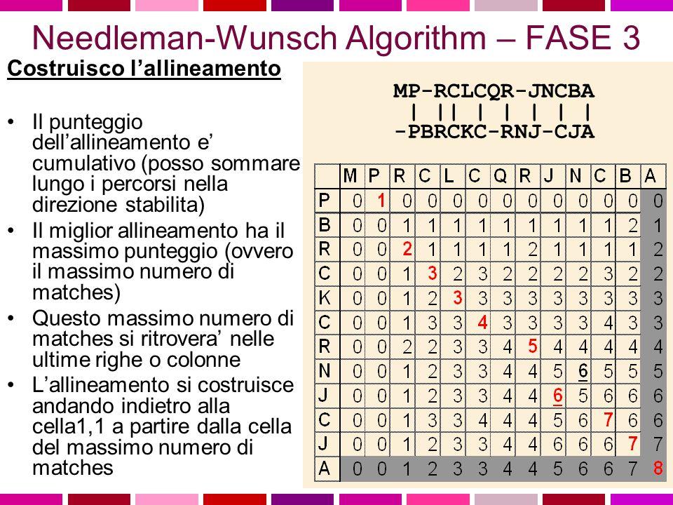 Needleman-Wunsch Algorithm – FASE 2 Per ogni cella, voglio determinare il valore massimo possibile per un allineamento che termini in corrispondenza della cella stessa Cerco le celle appartenenti alla colonna e alla riga precedenti a quelle della cella per trovare il valore massimo in esse contenuto Aggiungo questo valore al valore della cella corrente Procedo da in alto sinistra verso in basso a destra nella matrice