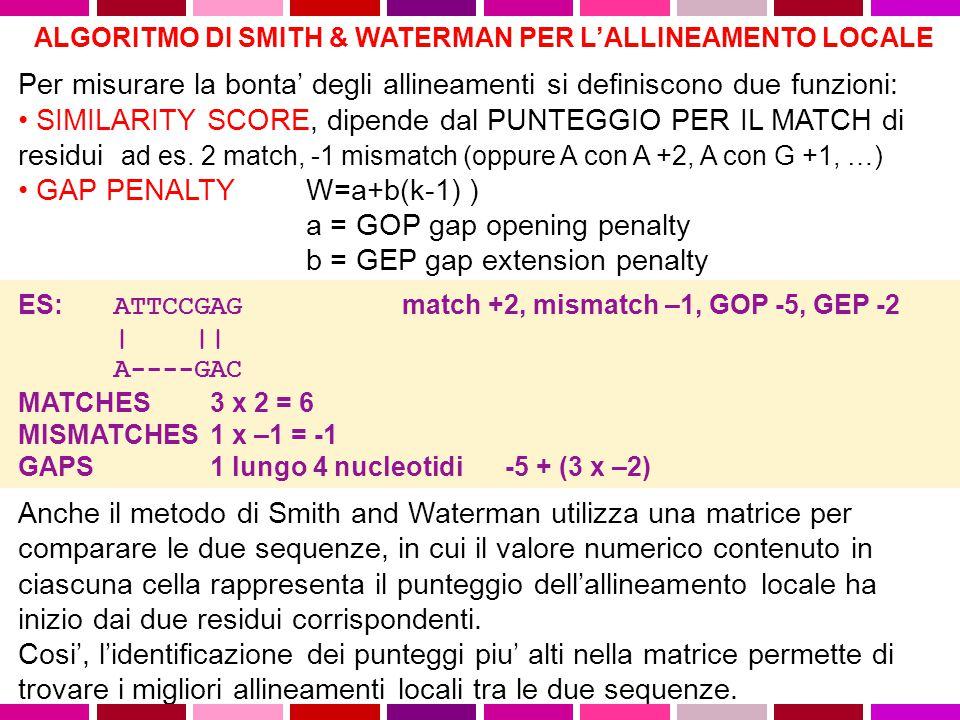 ALGORITMO DI SMITH & WATERMAN PER L'ALLINEAMENTO LOCALE Lo scopo degli algoritmi di allineamento locale di due sequenze e' trovare la regioni piu' lunga della prima sequenza che produce un allineamento ottimale, dati certi parametri, con una regione della seconda.