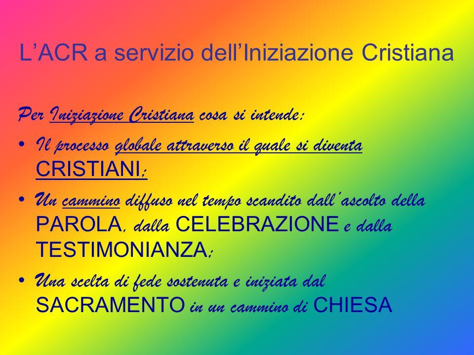 L'ACR a servizio dell'Iniziazione Cristiana Per Iniziazione Cristiana cosa si intende: Il processo globale attraverso il quale si diventa CRISTIANI ;