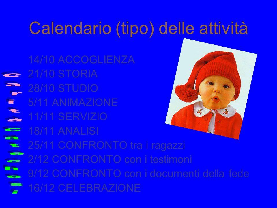 Calendario (tipo) delle attività 14/10 ACCOGLIENZA 21/10 STORIA 28/10 STUDIO 5/11 ANIMAZIONE 11/11 SERVIZIO 18/11 ANALISI 25/11 CONFRONTO tra i ragazz