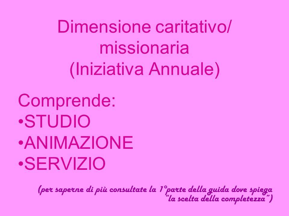 Dimensione caritativo/ missionaria (Iniziativa Annuale) Comprende: STUDIO ANIMAZIONE SERVIZIO (per saperne di più consultate la 1°parte della guida do