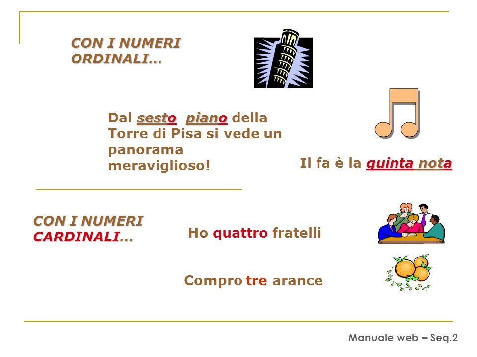 CON I NUMERI ORDINALI… quinta nota Il fa è la quinta nota sestopiano Dal sesto piano della Torre di Pisa si vede un panorama meraviglioso.