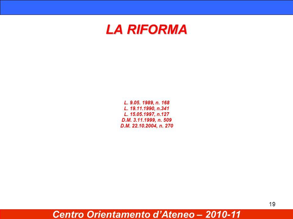 19 LA RIFORMA L. 9.05. 1989, n. 168 L. 19.11.1990, n.341 L.