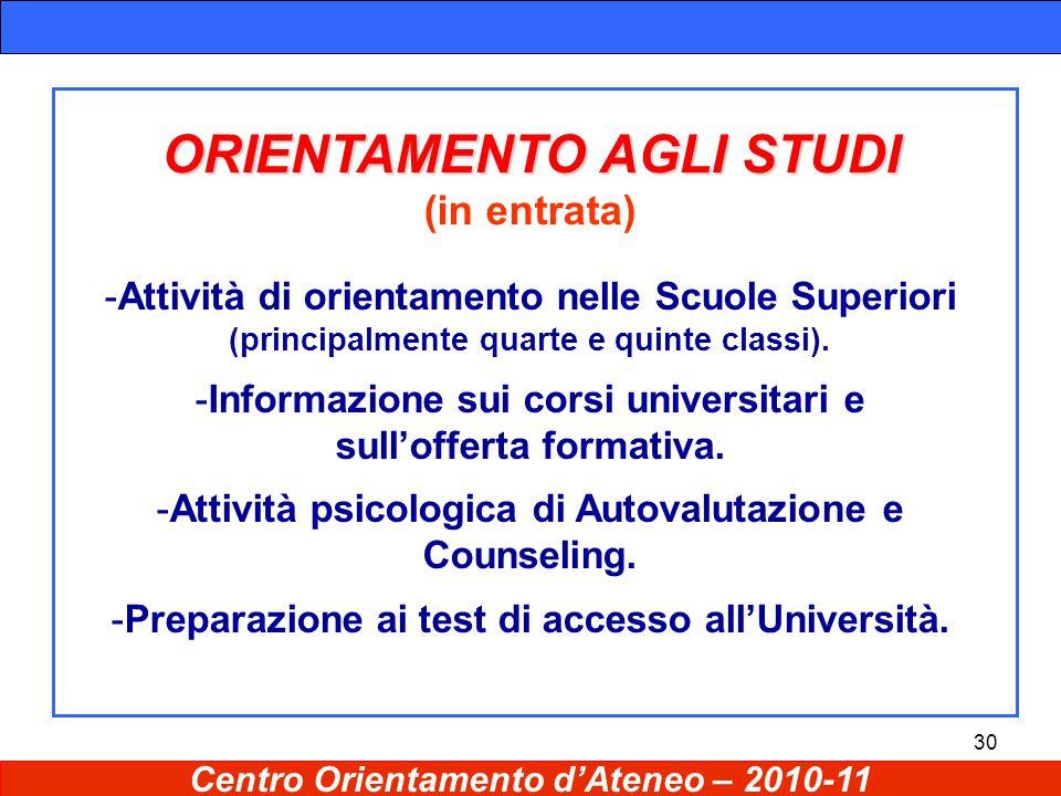 30 ORIENTAMENTO AGLI STUDI (in entrata) -Attività di orientamento nelle Scuole Superiori (principalmente quarte e quinte classi).