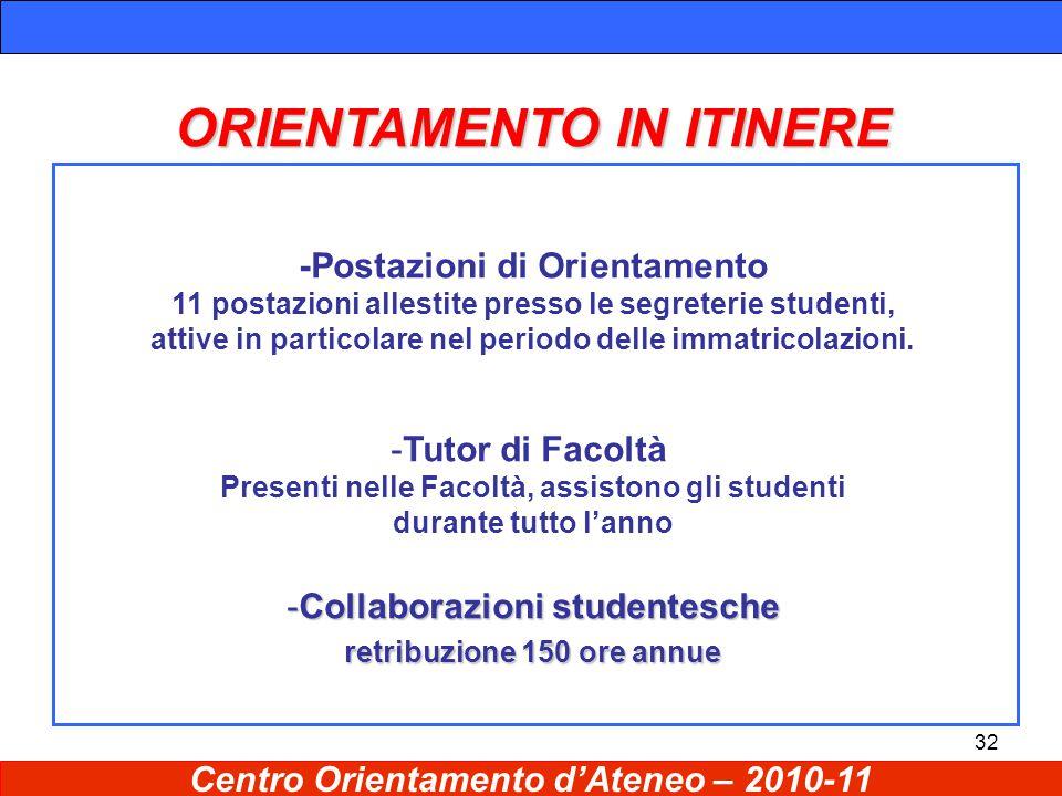 32 ORIENTAMENTO IN ITINERE -Postazioni di Orientamento 11 postazioni allestite presso le segreterie studenti, attive in particolare nel periodo delle immatricolazioni.