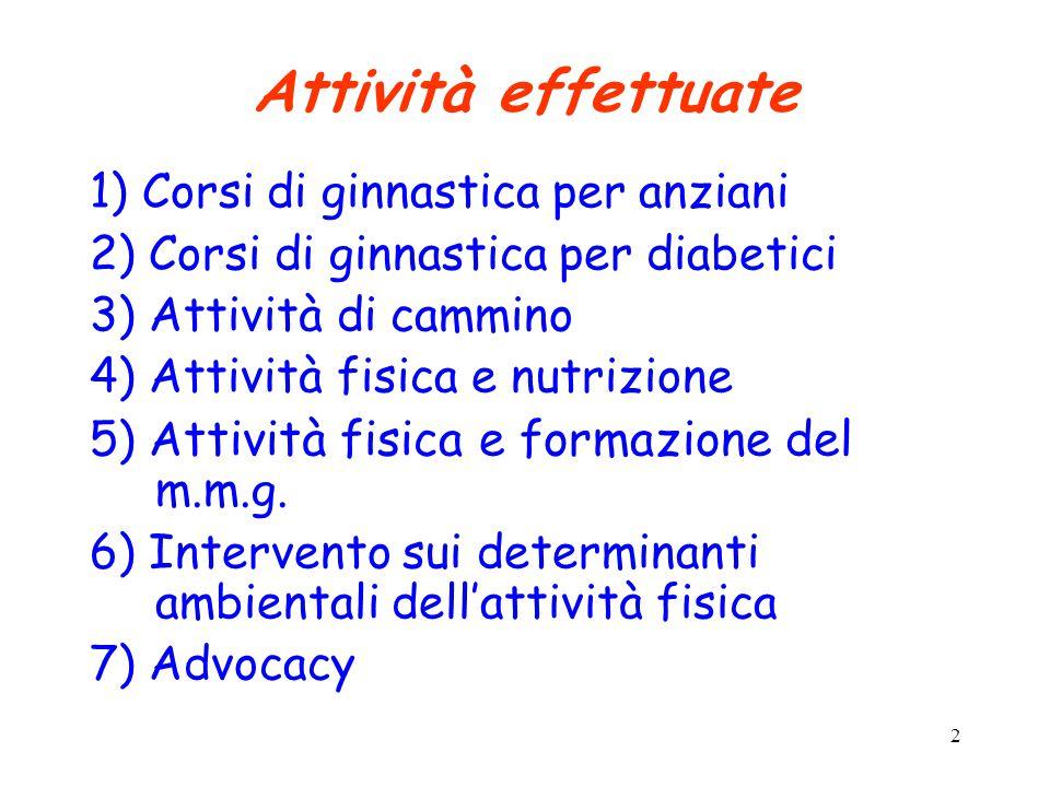 2 Attività effettuate 1) Corsi di ginnastica per anziani 2) Corsi di ginnastica per diabetici 3) Attività di cammino 4) Attività fisica e nutrizione 5