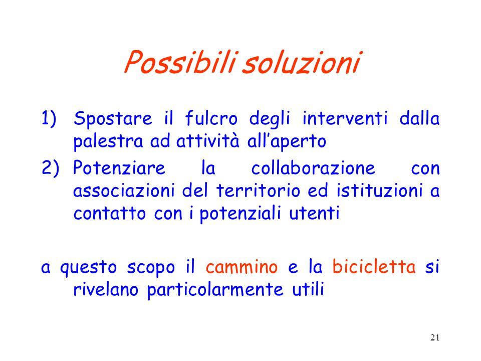 21 Possibili soluzioni 1)Spostare il fulcro degli interventi dalla palestra ad attività all'aperto 2)Potenziare la collaborazione con associazioni del
