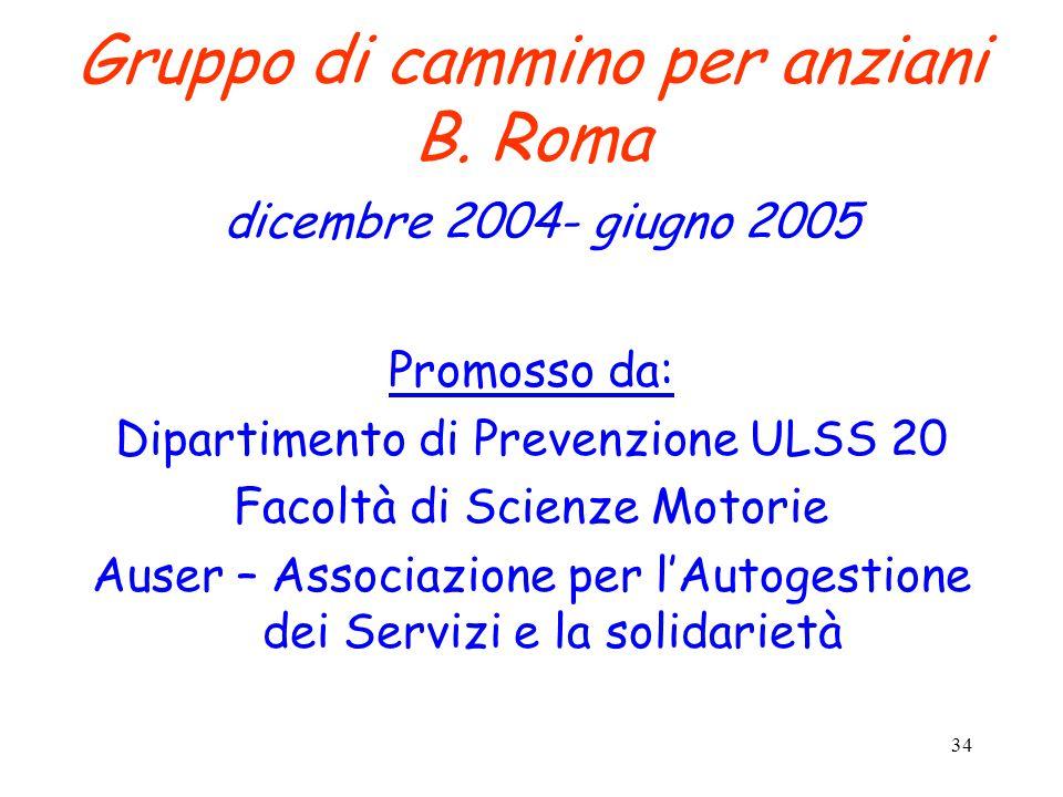 34 Gruppo di cammino per anziani B. Roma dicembre 2004- giugno 2005 Promosso da: Dipartimento di Prevenzione ULSS 20 Facoltà di Scienze Motorie Auser
