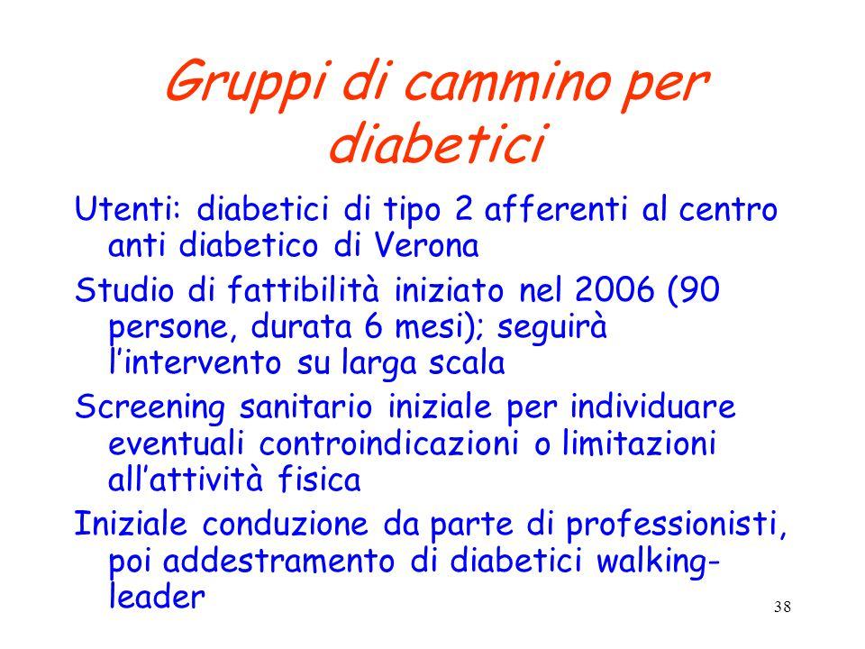 38 Gruppi di cammino per diabetici Utenti: diabetici di tipo 2 afferenti al centro anti diabetico di Verona Studio di fattibilità iniziato nel 2006 (9