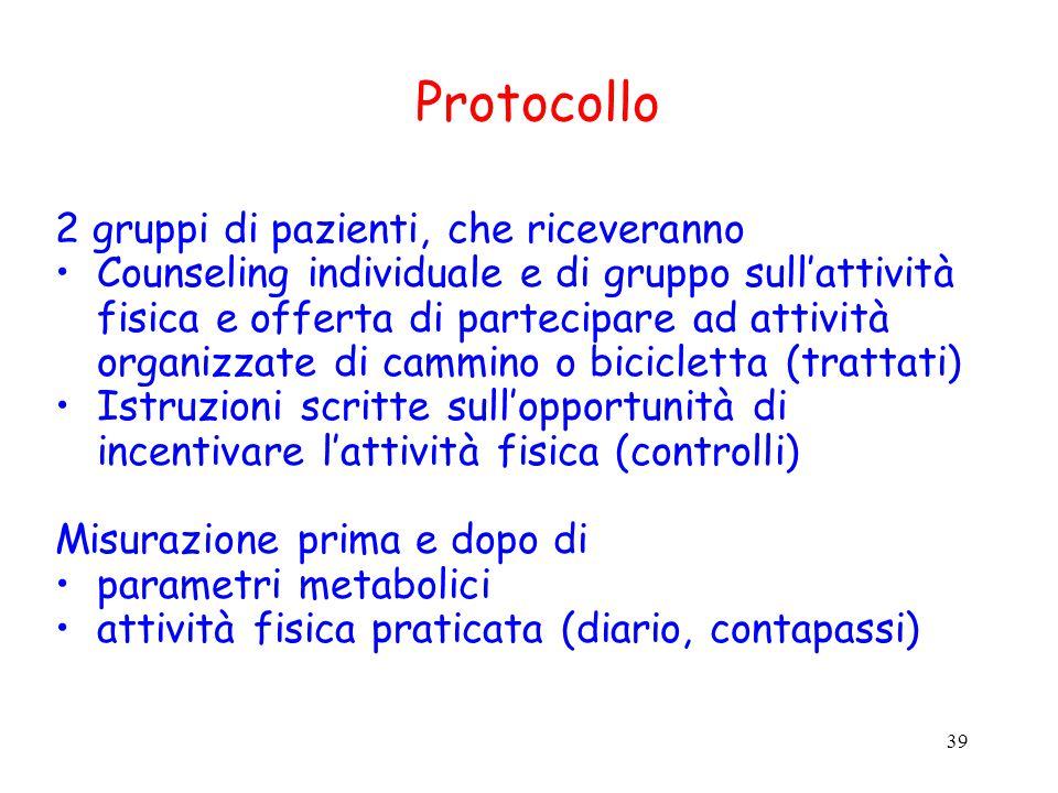 39 Protocollo 2 gruppi di pazienti, che riceveranno Counseling individuale e di gruppo sull'attività fisica e offerta di partecipare ad attività organ