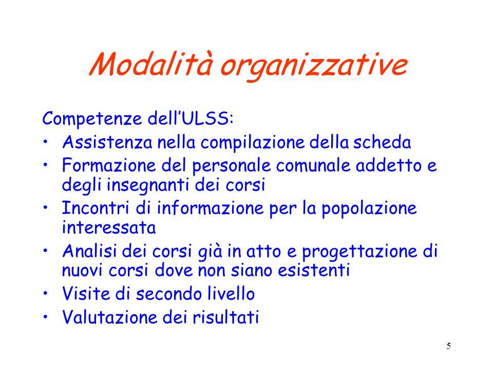 5 Modalità organizzative Competenze dell'ULSS: Assistenza nella compilazione della scheda Formazione del personale comunale addetto e degli insegnanti