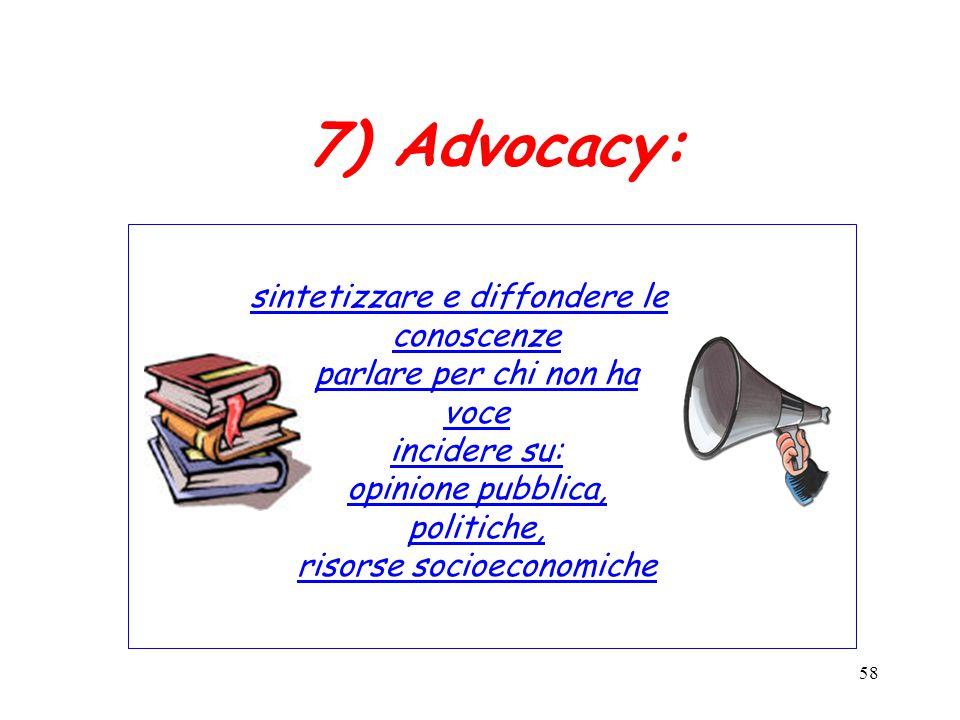 58 7) Advocacy: sintetizzare e diffondere le conoscenze parlare per chi non ha voce incidere su: opinione pubblica, politiche, risorse socioeconomiche