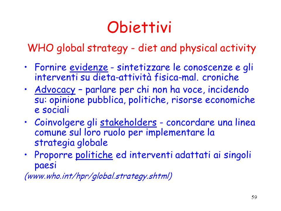 59 Obiettivi WHO global strategy - diet and physical activity Fornire evidenze - sintetizzare le conoscenze e gli interventi su dieta-attività fisica-
