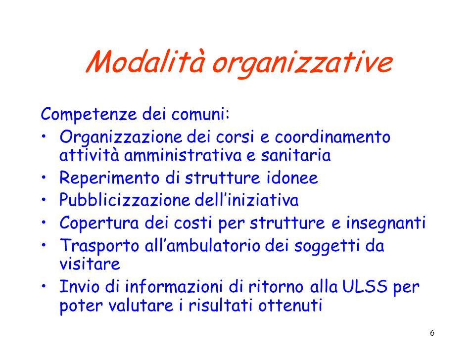 6 Modalità organizzative Competenze dei comuni: Organizzazione dei corsi e coordinamento attività amministrativa e sanitaria Reperimento di strutture