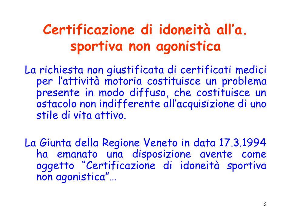 8 Certificazione di idoneità all'a. sportiva non agonistica La richiesta non giustificata di certificati medici per l'attività motoria costituisce un