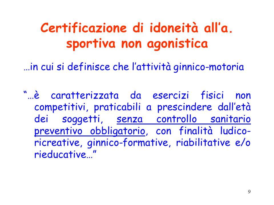 """9 Certificazione di idoneità all'a. sportiva non agonistica …in cui si definisce che l'attività ginnico-motoria """"…è caratterizzata da esercizi fisici"""