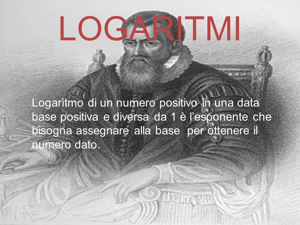 LOGARITMI Logarìtmo di un numero positivo in una data base positiva e diversa da 1 è l'esponente che bisogna assegnare alla base per ottenere il numer