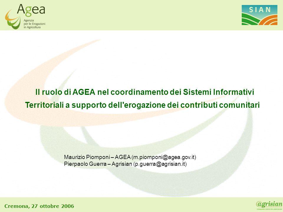 Cremona, 27 ottobre 2006 Il ruolo di AGEA nel coordinamento dei Sistemi Informativi Territoriali a supporto dell'erogazione dei contributi comunitari