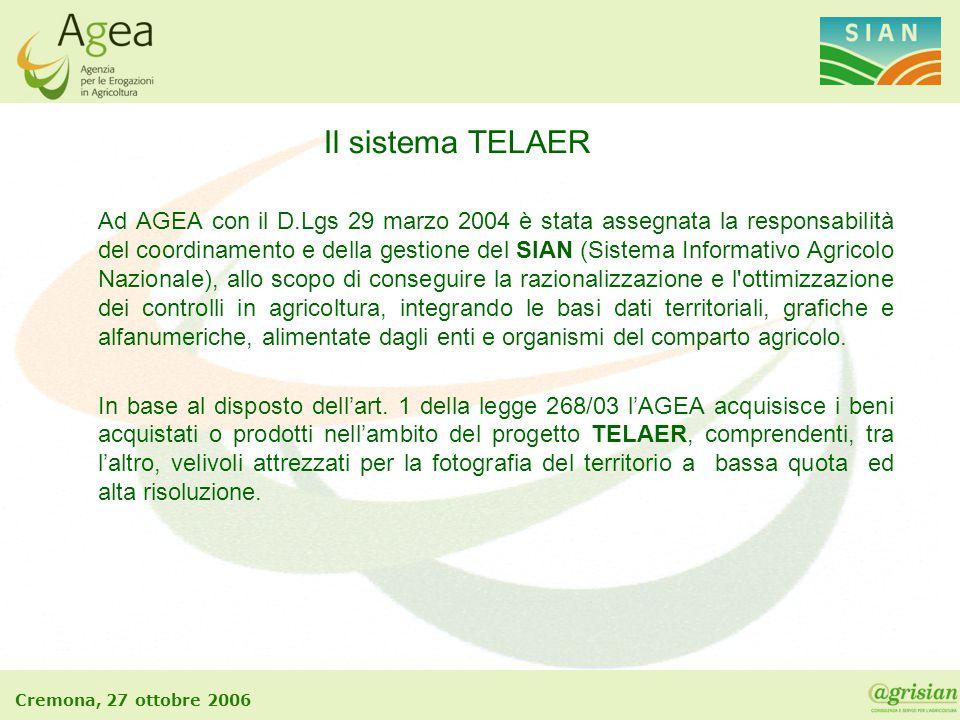 Cremona, 27 ottobre 2006 Il sistema TELAER Ad AGEA con il D.Lgs 29 marzo 2004 è stata assegnata la responsabilità del coordinamento e della gestione d