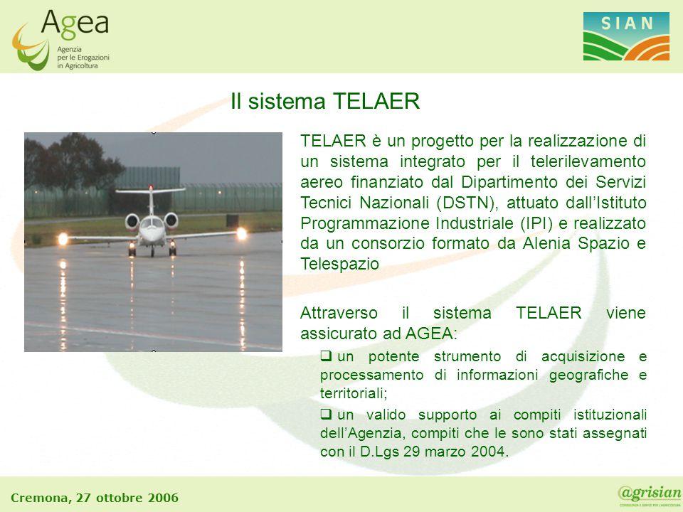 Cremona, 27 ottobre 2006 Il sistema TELAER TELAER è un progetto per la realizzazione di un sistema integrato per il telerilevamento aereo finanziato d
