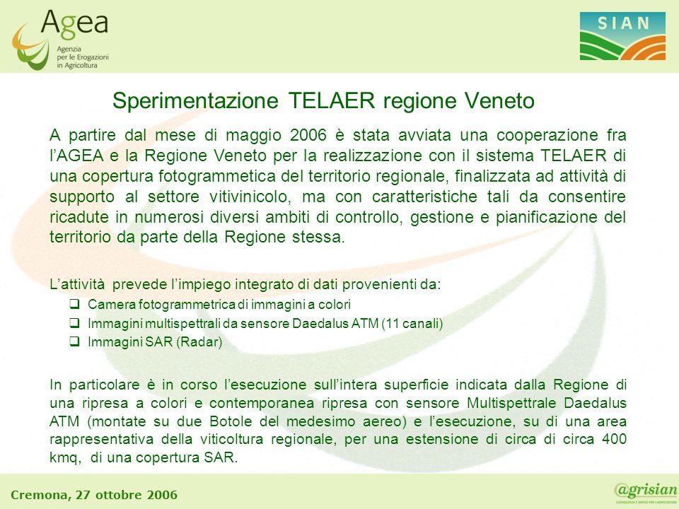 Cremona, 27 ottobre 2006 Sperimentazione TELAER regione Veneto A partire dal mese di maggio 2006 è stata avviata una cooperazione fra l'AGEA e la Regi