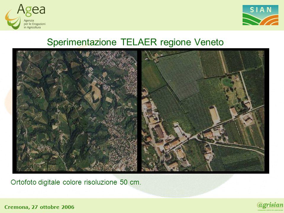 Cremona, 27 ottobre 2006 Sperimentazione TELAER regione Veneto Ortofoto digitale colore risoluzione 50 cm.