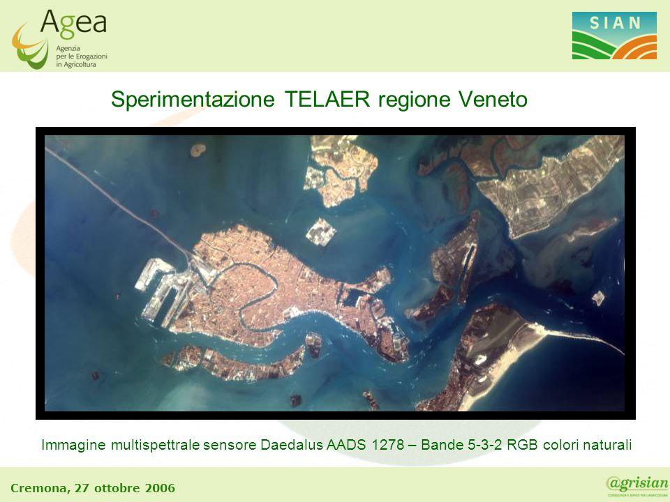 Cremona, 27 ottobre 2006 Sperimentazione TELAER regione Veneto Immagine multispettrale sensore Daedalus AADS 1278 – Bande 5-3-2 RGB colori naturali
